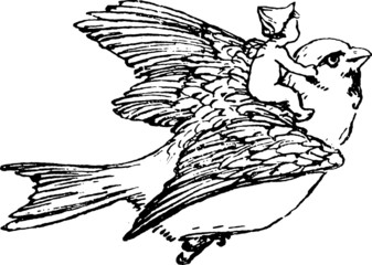 Vintage Illustration flying bird with baby
