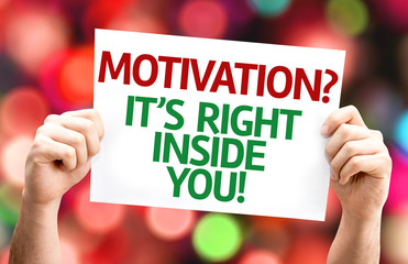 Motivation? Its Right Inside You! card with colorful background
