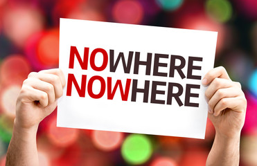 NoWhere NowHere card with colorful background