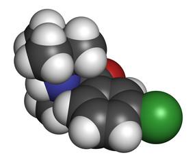Bupropion antidepressant and smoking cessation drug molecule.
