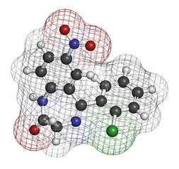 Clonazepam benzodiazepine drug molecule.