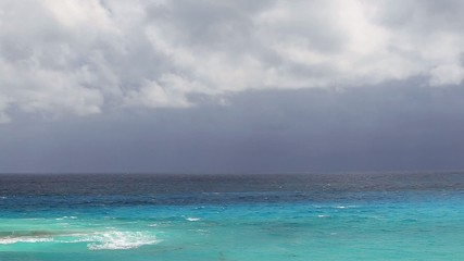 Stormy weather on caribbean beach, Cancun, Mexico