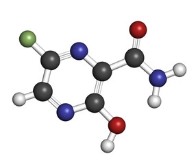 Faviparivir antiviral drug molecule. Used in treatment of Ebola