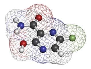 Faviparivir antiviral drug molecule.