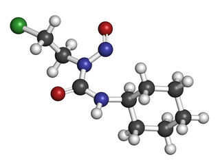 Lomustine brain cancer chemotherapy drug molecule.