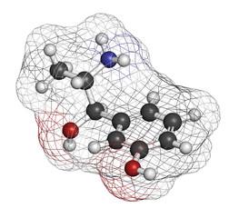 Metaraminol (metaradrine) hypotension drug molecule.