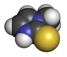 Methimazole hyperthyroidism drug molecule.
