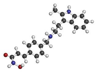 Panobinostat cancer drug molecule. Histone deacetylase inhibitor