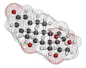 Prednisone corticosteroid drug molecule.