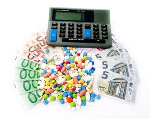 pills and euro banknotes.  medical concept