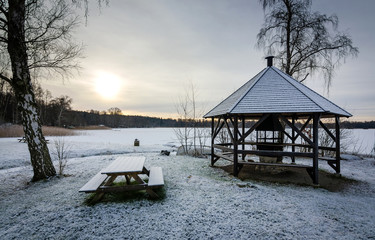Lake rest place in winter