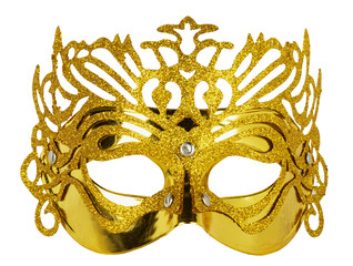 golden carnival mask isolated on the white background