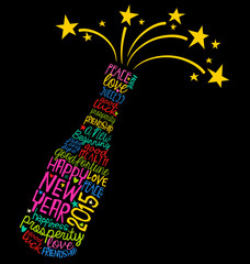 Happy New Year champagne bottle word cloud