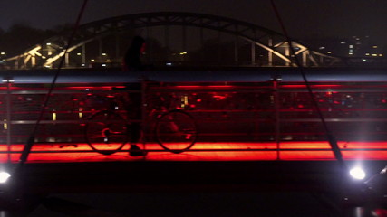 View of city and pedestrian walking on footbridge at night