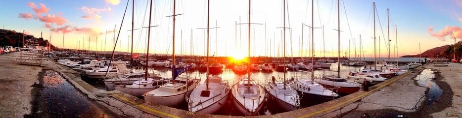 stunning sunset at the harbor