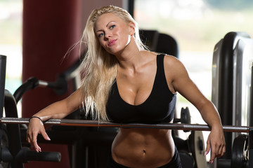 Sexy Woman In The Gym With Exercise Equipment