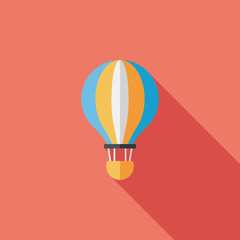 Transportation hot air ballon flat icon with long shadow,eps10