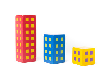 Wooden color blocks build in image of row building