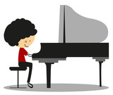 Fototapety Doodle Playing Piano - Full Color