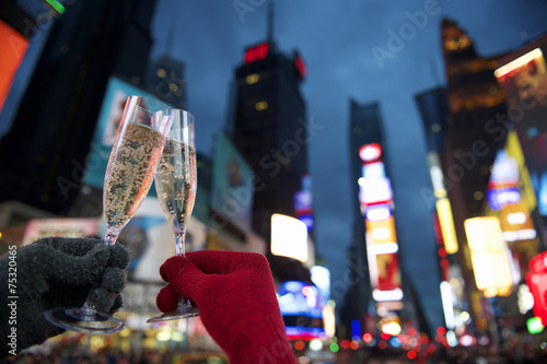 Poster Uitvoering Happy New Year Toast Times Square New York