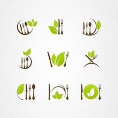 Vector organic food cutlery leaf logo icon