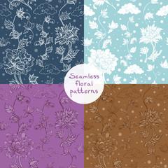Seamless vector floral pattern set. 4 variants