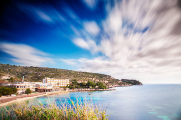 Panoramic view of the Sardinian coast with a long exposure