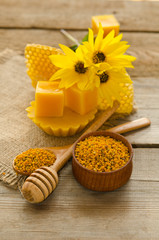 Still life of wax, honeycombs,flawers and pollen granule