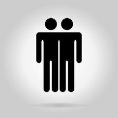 Black logotype tow men. Simple silhouette information sign with