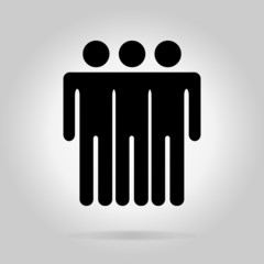 Black logotype three men.Simple silhouette information sign with
