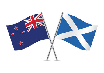 Scottish and New Zealand flags. Vector illustration.