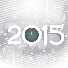 creative new year design with shiny circles and clock