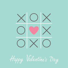 Tic tac toe cross heart  Valentines day card Blue Flat design