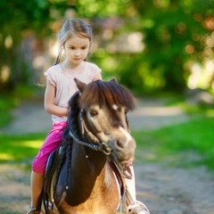 Adorable little girl riding a pony