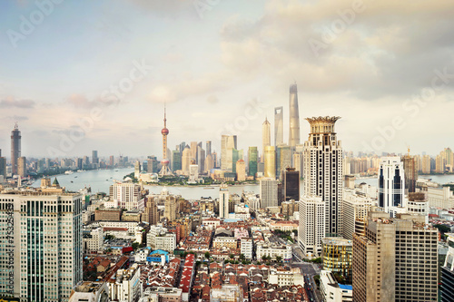 modern city skyline,traffic and cityscape in Shangha at day,Chin