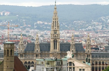 Aerial view of the city of vienna with Rathaus palace