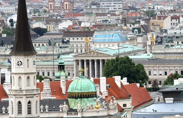 Aerial view of the city of vienna with parlament