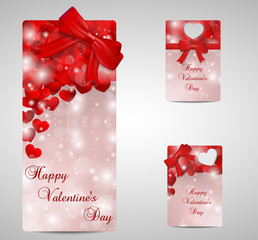Set of red Valentines day tags and cads.