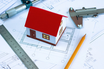 the layout of the house, design and measurement tools