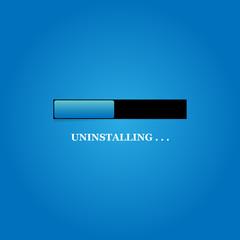 UNINSTALLING illustration design over a blue background