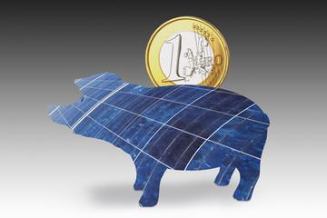 Solar-Panel Sparschwein mit einem Euro-Münze