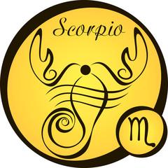 stylized zodiac signs in a yellow circle - scorpio