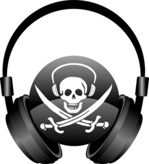 czacha piracka ze słuchawkami