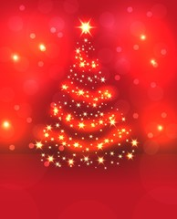 Christmas fir-tree with fires