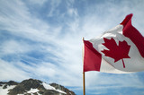 Canadian flag with sky background. British Columbia. Canada