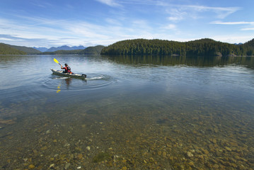 Canoeing in Kennedy Lake. Vancouver. British Columbia. Canada