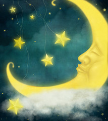 Card or background or illustration with moon and stars