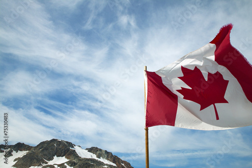 Keuken foto achterwand Canada Canadian flag with sky background. British Columbia. Canada