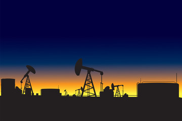Oil refinery and oil pumps silhouettes at dawn vector