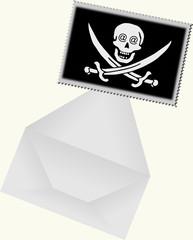 szara koperta i znaczek pocztowy z czachą piracką